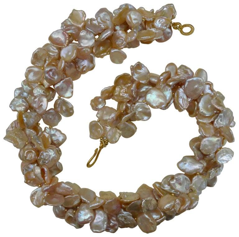 Michael Kneebone Four Strand Petal Pearl Gold Bead Torsade Necklace