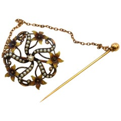 Solid 10 Karat Yellow Gold Antique Seed Pearl Pin with Stick Pin 3.6g