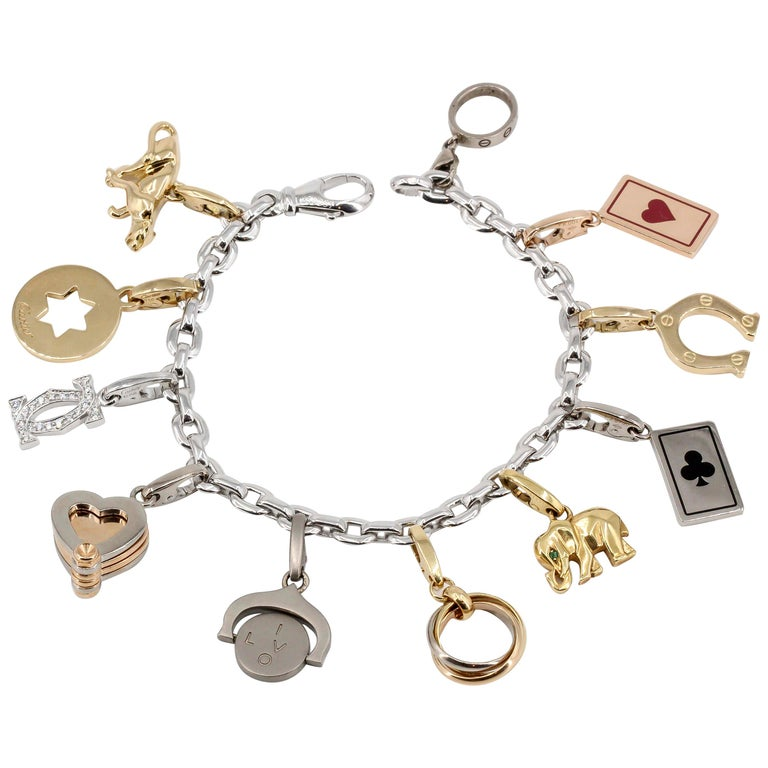 Cartier Diamond, 18 Karat White, Rose and Yellow Gold 11 Charm Link Bracelet