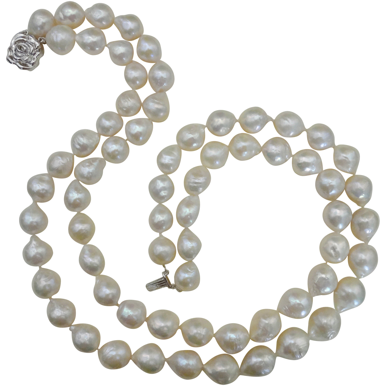 Michael Kneebone Double Strand White Kasumi Pearl Necklace