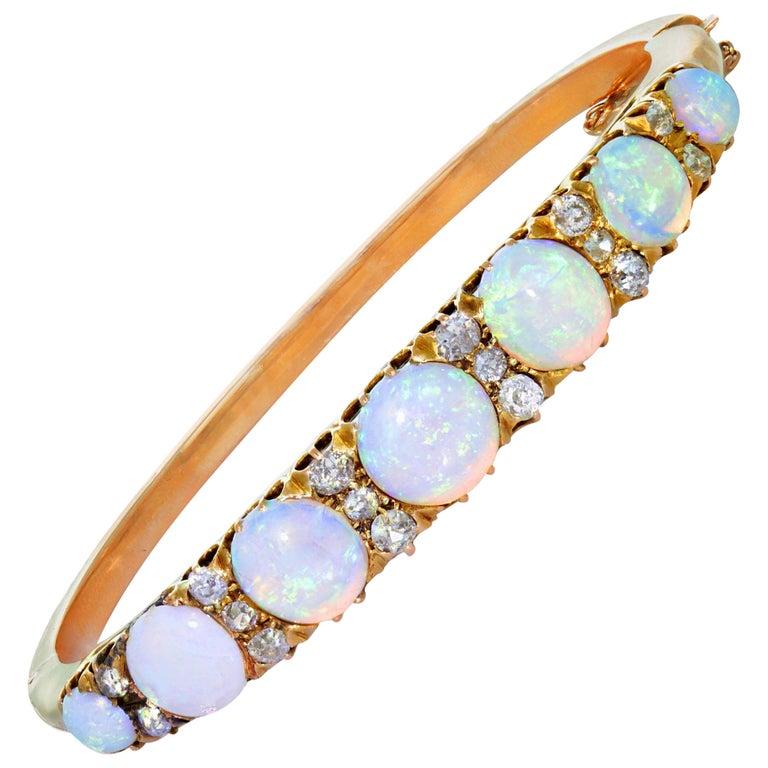 Victorian Opal Diamond and Gold Bangle Bracelet