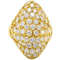 3.33 Carat 18 Karat Yellow Gold Diamond Shield Cocktail Ring