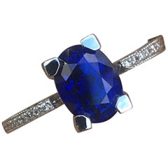 2.73 Carat Oval Natural Fancy Blue Sapphire and Diamond 18 Karat Y, Ben Dannie