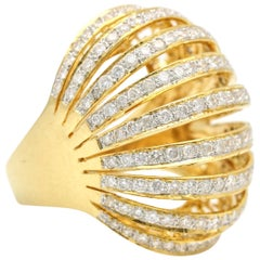 2.75 Carat 18 Karat Yellow Gold Diamond Bombe Dome Ring