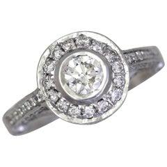 1.21 Carat TW Round Diamond Engagement Halo Ring