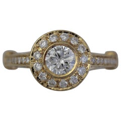 1.27 Carat TW Round Diamond 18 Karat Y Engagement Halo Ring, Ben Dannie