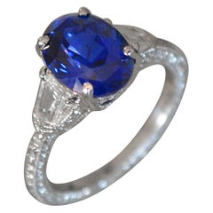 5.29 Carat Oval Natural Fancy Blue Sapphire and Diamond Ring 18k W - Ben Dannie