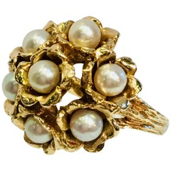 "Unique ""Lucky 7"" Pearl Flower Bouquet Yellow Gold Textured Midcentury Ring"
