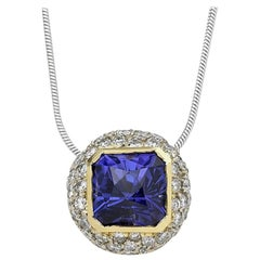 5.14 Carat Tanzanite and DIA Pendant, 18 Karat W, 1990s, Ben Dannie