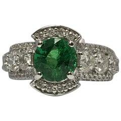 2.30 Carat Tsavorite Garnet and 1.79 Carat Diamonds Ring