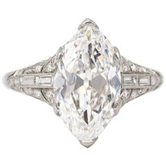 J. Birnbach GIA Certified 3.78 Carat Antique Marquise Ring