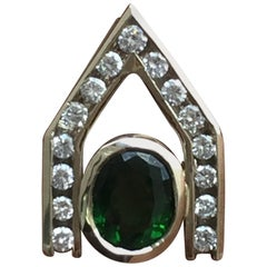 0.90 Carat Chrome Tourmaline and DIA Pendant, 18 Karat White, 1990s, Ben Dannie