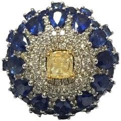 Yellow ,White Diamonds and Blue Sapphire Ring