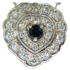 1.25 Carat Natural Sapphire Diamond Cluster Necklace 14 Karat