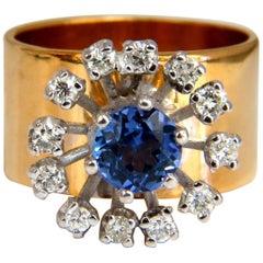 1.46 Carat Natural Round Tanzanite Diamonds Ring 14 Karat Cluster Halo