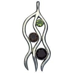 Peridot, Garnet and Smokey Topaz Pendant Set in Sterling Silver