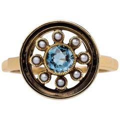 Retro Era Aquamarine and Seed Pearl Ring