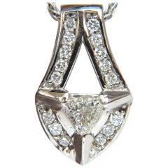 .73 Carat Trilliant Diamond Pendant 14 Karat Weave Chain Raised Shield Deco