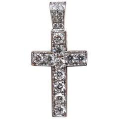 .50 Carat Natural Diamonds Rounds Cross Necklace 14 Karat Petite Class