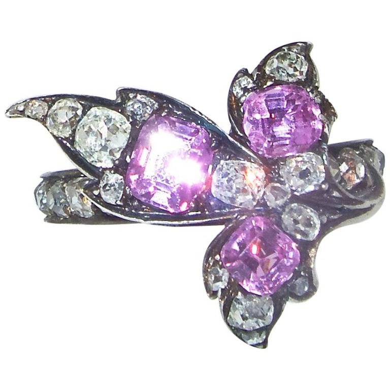Antique Pink Sapphire and Diamond Ring