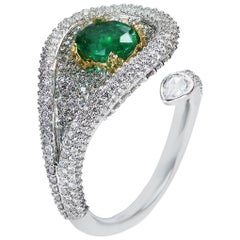 Studio Rêves 18 Karat Gold, Emeralds and Diamonds Drop Cocktail Ring