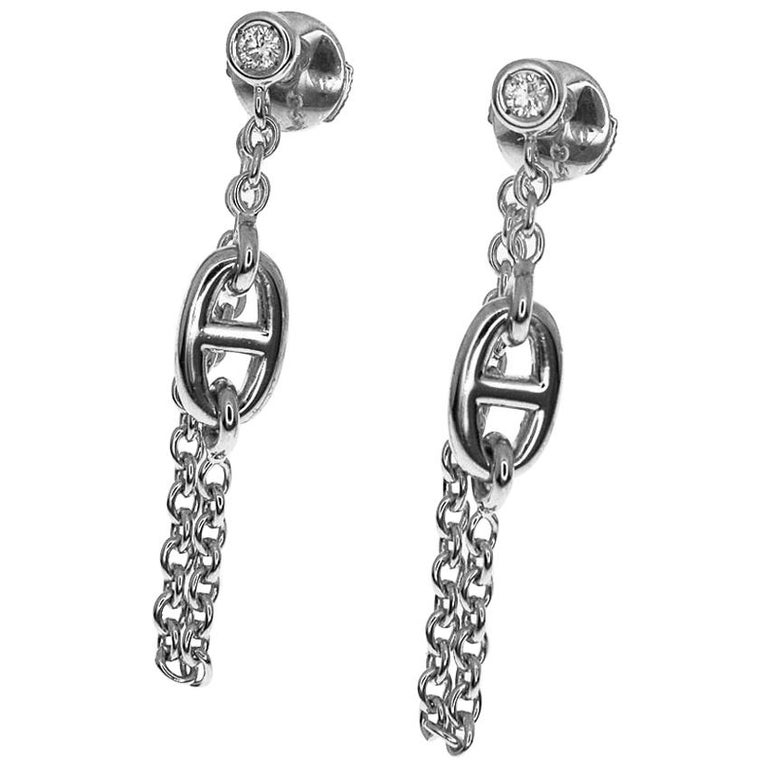 Hermès Diamond 18 Karat White Gold Chaine D'ancre Stud Earring