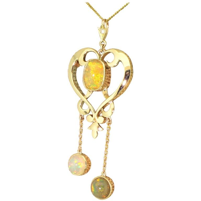 Art Nouveau 6.63 Carat Opal Pendant