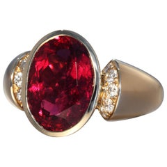 Robert Vogelsang 6.39 Carat Rubelite Tourmaline Diamond Rose Gold Cocktail Ring