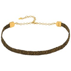 Gold Vermeil and Black Silk Weaved Chocker