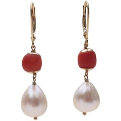 Coral and White Pearl Earrings with 14 Karat Yellow Gold Lever Backs
