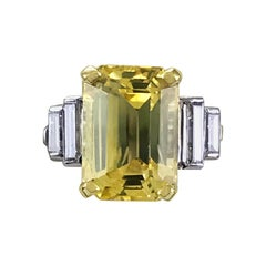 Art Deco Certified Natural Yellow 6.13ct Sapphire and Diamond Ring circa 1930