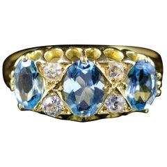 Antique Victorian Aquamarine Diamond Ring 18 Carat Gold, circa 1880