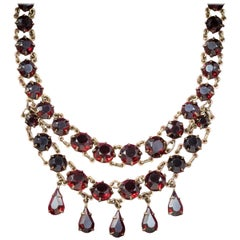 Antique Victorian Glass Garnet Riviere Necklace, circa 1900