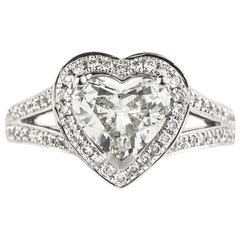 GIA Certified Heart Cut Diamond Engagement Ring 1.29 Carat