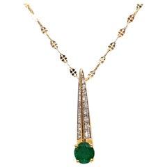 Diamond Emerald Gold Necklace Pendant