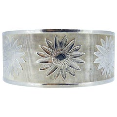 1940s Silver Buckle Bangle, Daisy Flower Pattern, Adjustable, Hallmarked Chester