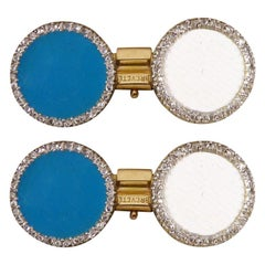Antique Edwardian Cufflinks in Blue Enamel and Diamond Halo in 18 Carat Gold