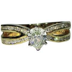 1.02 Carat Pear Shape Diamond Ring 14 Karat Modern Class