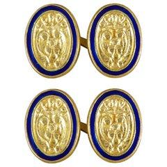 18 Carat Yellow Gold Oval Shield Crested Blue Enamel Cufflinks