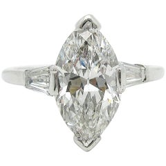 1.75ct Old Cut Marquise GIA Certified Diamond Solitaire Platinum Engagment Ring