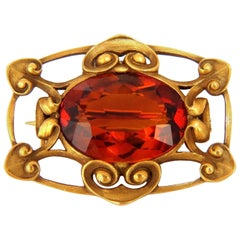 10.00 Carat Natural Orange Citrine Brooch Pin 14 Karat