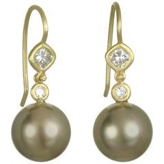 Faye Kim 18 Karat Tahitian Pearl and Diamond Earrings