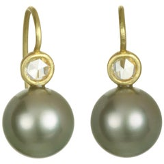 Faye Kim 18 Karat Tahitian Pearl and Diamond Earrings