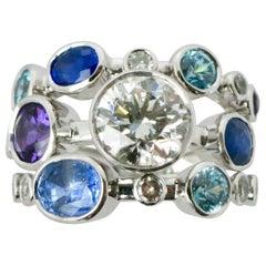 Triple Mix Diamond, Sapphire and Aquamarine Ring
