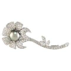 6 Carat 18 Karat White Gold Tahitian Pearl and Diamond Flower Brooch