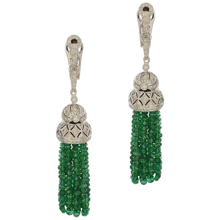 Emerald Tassel & Diamond Dangle Earrings