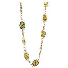 Plique-à-Jour Orange and Green Enamel 18 Karat Yellow Gold Station Necklace