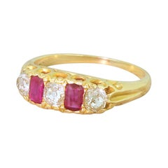 Edwardian Ruby and Old Cut Diamond Five-Stone Ring