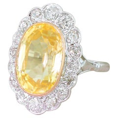 Art Deco 7.28 Carat Ceylon Yellow Sapphire and Old Cut Diamond Ring