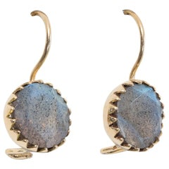 Bezel-Set Labradorite and 18 Karat Gold Drop Earrings